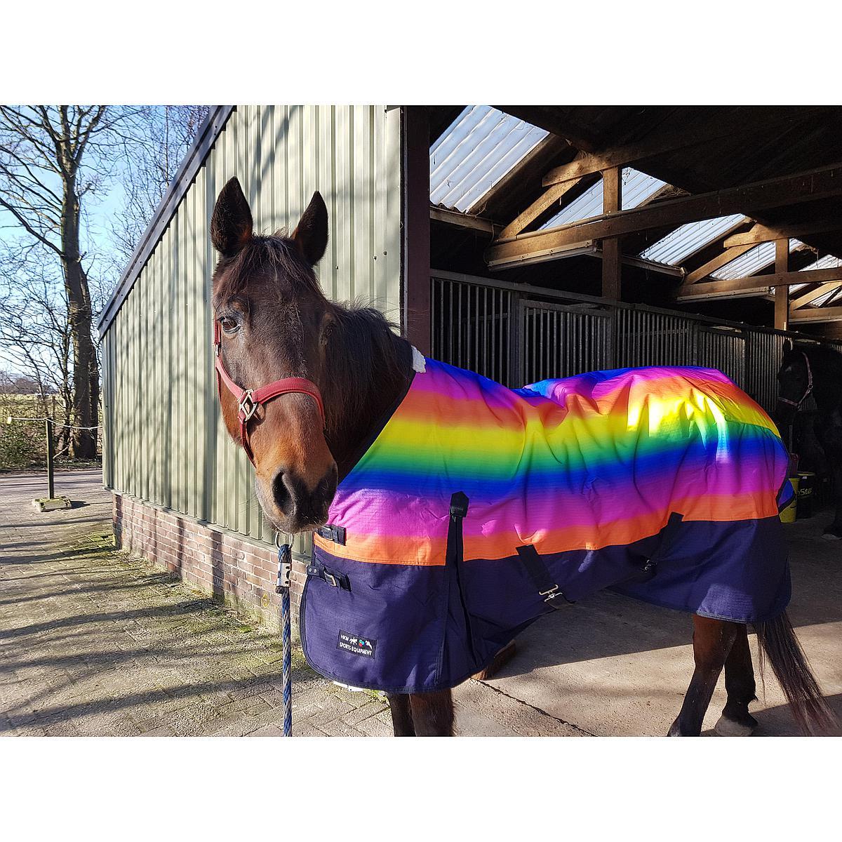 HKM Weidedecke Rainbow mit Polarfleecefutter Grün/Hellblau