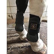 BR Tendon Fetlock Boots Set Pro Tech PU Neoprene Black Full