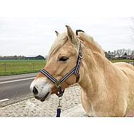 Pfiff Kunststof Halster Donkerbr-Wit-Blauw, Onderlegd Pony