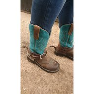 Ariat Western Probaby Flame B Distressed Brown/Turquoise 36