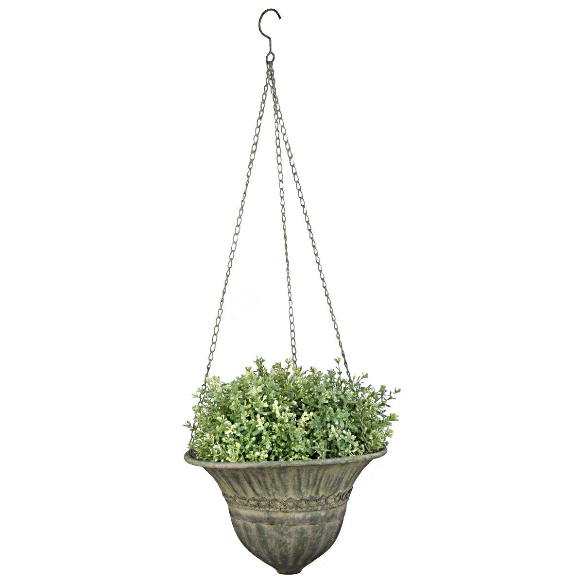 Afbeelding van Esschert Aged Metal Green hanging basket S 25,3x25,3x18,4cm