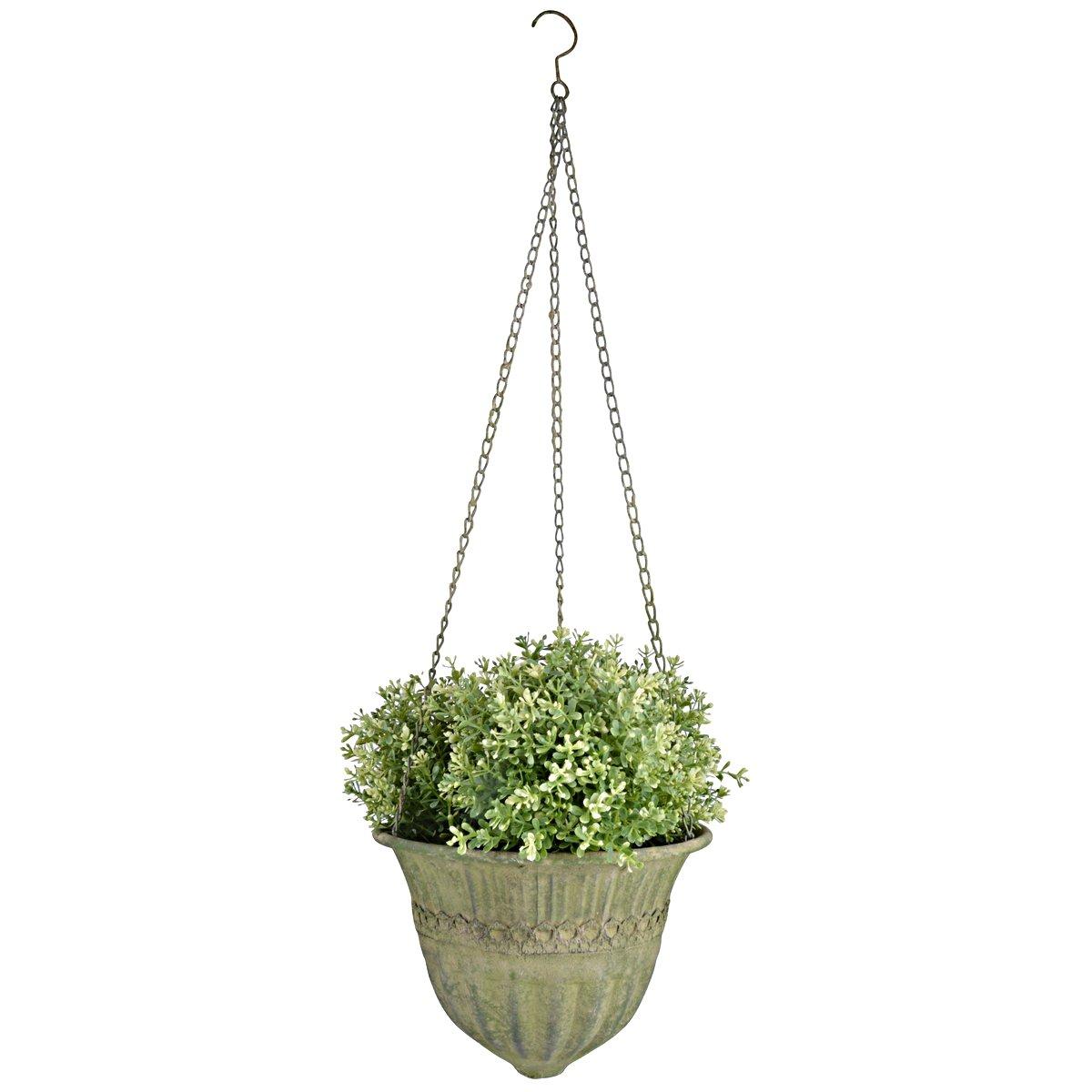 Afbeelding van Esschert Aged Metal Green hanging basket L 30x30x18,7cm