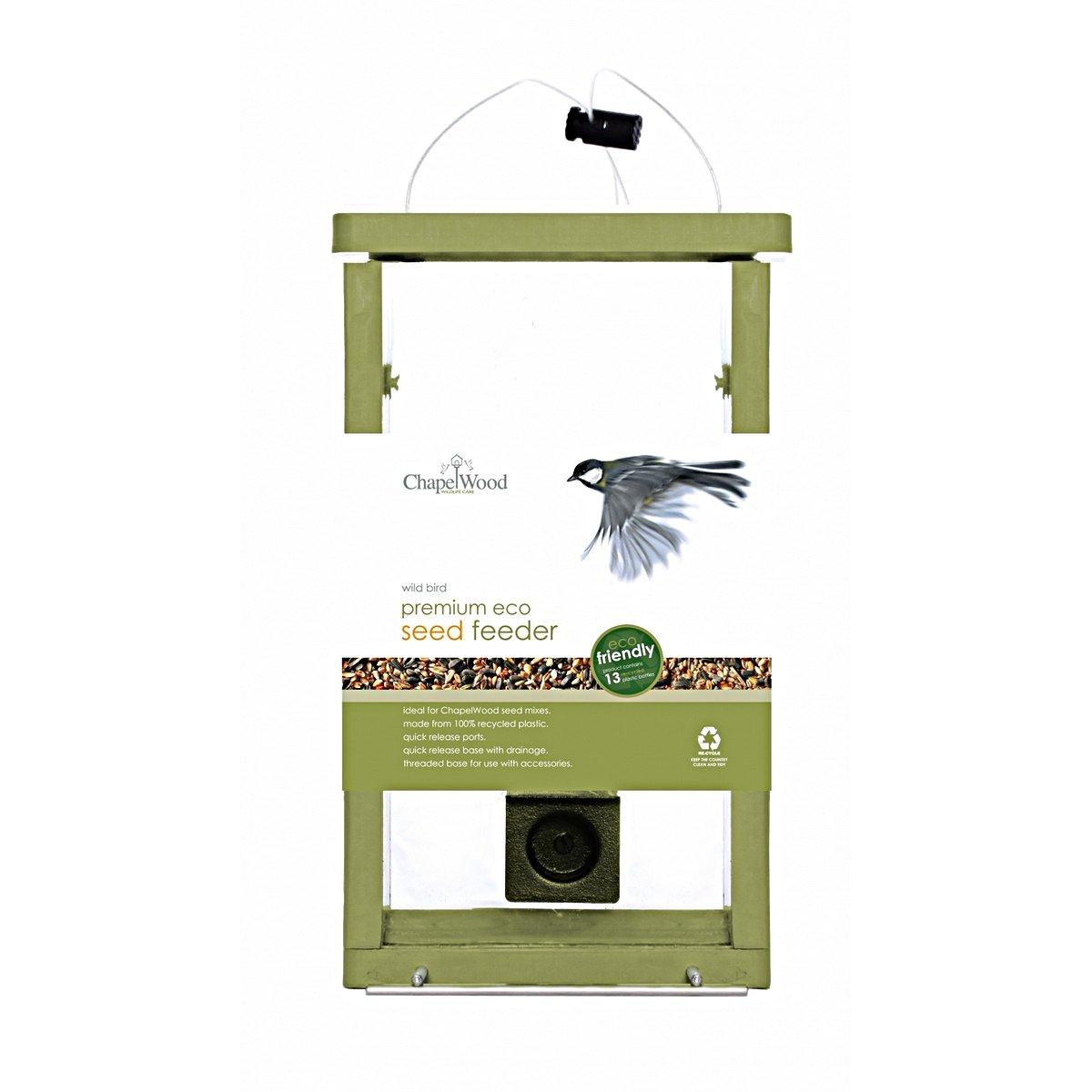 Afbeelding van Chapelwood Eco Voedersilo Voor Zaden Groen 0,9kg/17x11x28cm