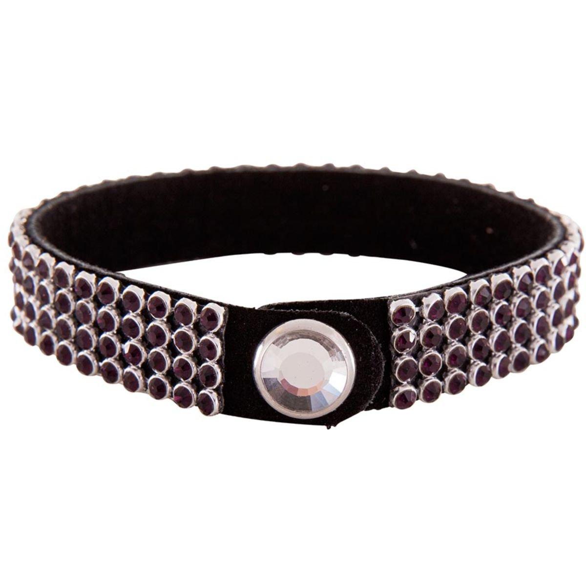 Afbeelding van BR Armband Crystallized met Rhinestone Button Paars