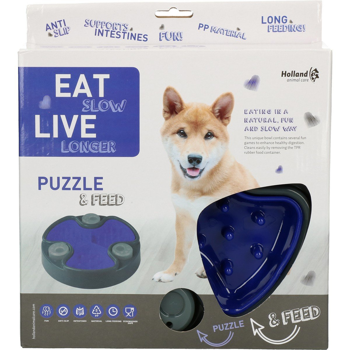 Afbeelding van Eat Slow Live Longer Puzzle and Feed Blue 23,5cm