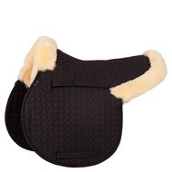 BR Saddlepad General Purpose Sheepskin Fur Cushions Black/Natural