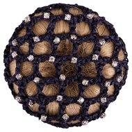 BR Knotnet met Grote Mazen en Diamantstenen Blauw