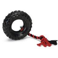 Beeztees TPR Tire met Touw Zwart Rood