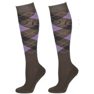 Harrys Horse Socks Check Grey/Antracite/Lila