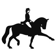 HKM Car Sticker Dressage Rider 2 10x10cm