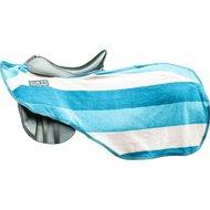 HKM Zweetdeken Kleur Stripes Klitband Petrol/ grijs/ azuurblauw