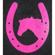 Strijkmotief Hoefijzer Met Paard Neonframboos