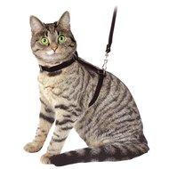 Kerbl Katzengeschirr m. Leine aus Veloursleder Schwarz 120cm