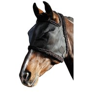 Harrys Horse Fly Mask with Fur Binding Black