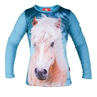 Red Horse Pixel Long Sleeved T-shirt Turquoise