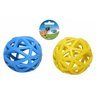 Duvo+ Dogtoy Rubber Cage Ball Blauw/geel 12cm