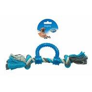 Duvo+ Dogtoy Knoop Katoen Trekring Plastiek Grijs/blauw 30cm