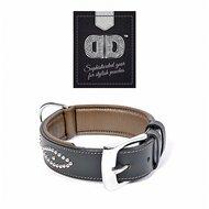 Duvo+ Metal Leder Halsband Studs Zwart/Grijs