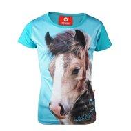 Red Horse T-shirt Horsy Aqua