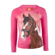 Red Horse Shirt Pixel Long sleeved Rose Pink