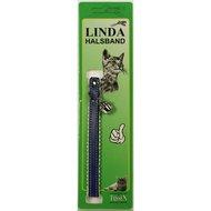 Linda Poezenbandje leder gevoerd & bel Blauw 10mm x 30cm