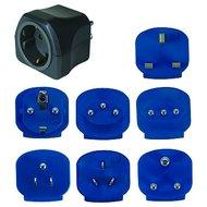 Brennenstuhl Reisestecker mit 7 Adaptern Blau