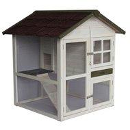 Konijnenhok Cottage White Wash/Bruin 105x105x110cm