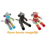 Multipet Pluche Sock Monkey Assorti 31x13x6cm