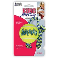 Kong Air Squeaker Ball met Touw Geel/Blauw Medium