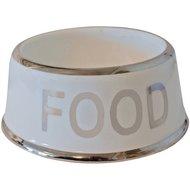 Voerbak Hond Food Wit/zilver 18cm