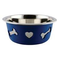 Weatherbeeta Dog Bowl Non-Slip Stainless Steel Silicone Bone Blue