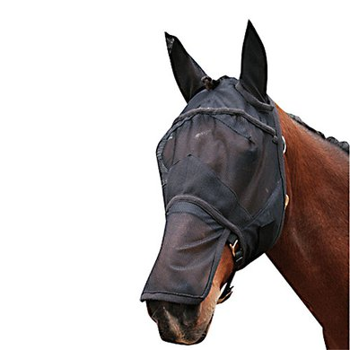 Harrys Horse Fliegenschutzmaske Ohren Nasenteil Schwarz Full