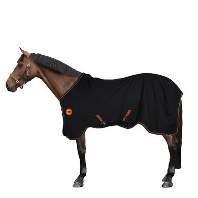 Rambo Ionic Stable Sheet Black/Black & Orange Stripe