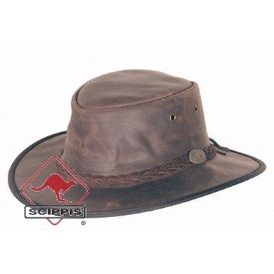 Scippis Lederen hoed Durras stonewash XXL