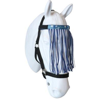 Lauria Garrelli Vliegenfrontriem Blauw/Middelblauw/Wit Pony