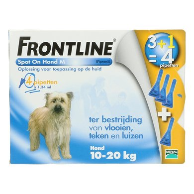 Frontline Spot-On Hond M 10-20kg 4 Pipetten