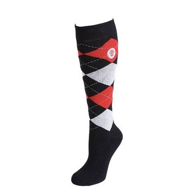 Covalliero Riding Socks Brescia Dark Blue/Red Hibiscus