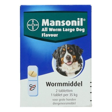 Mansonil All Worm Grote Hond Flavour 2 Tabletten