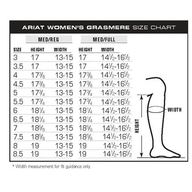 Image result for ariat grasmere size chart
