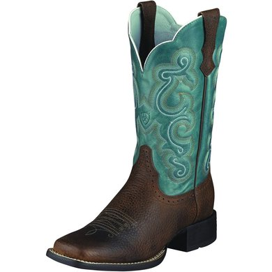 Ariat Western Quickdraw B Brown Oiled Rowdy/Sapphire Blue 40