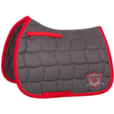 BR Saddlepad General Purpose Melange Classic Grey/Red Cob