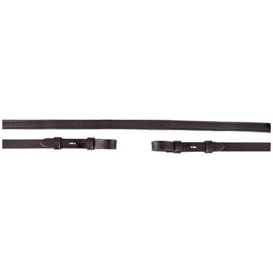 BR Dressur Zügel Leder/Gummi 16mm Blind Schwarz/Silber Full