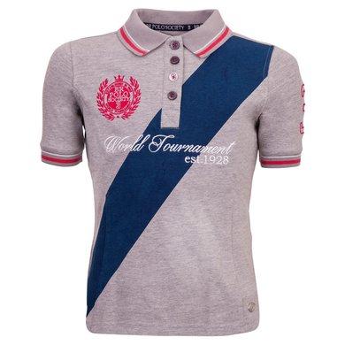 BR Polo Society Poloshirt Victoria Kinderen Grey Melange 164