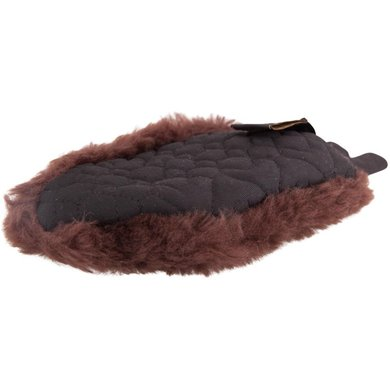 BR Grooming Glove One-sided Sheepskin Brown