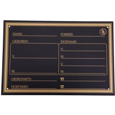 BR Plaque de Box Plastique Or Surimposition Noir 30x20cm