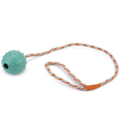 Beeztees Ball with a Bell and Cord Mint Ball 6cm Cord 60cm
