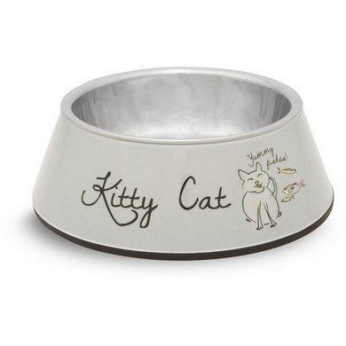Beeztees Melamine Rvs Eetbak Kitty Cat Grijs 14x45cm