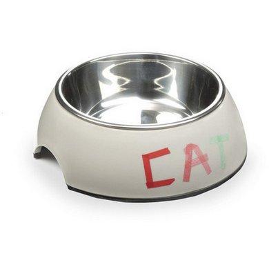 Beeztees Melamine Eetbak Tape Cat Rond Grijs