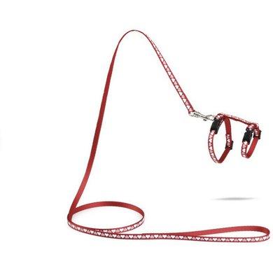 Beeztees Nylon Kittentuigje Hearts Rood 120x10cm