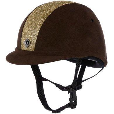 Charles Owen Safety Cap YR8 Sparkly Centre Round Brown/Gold